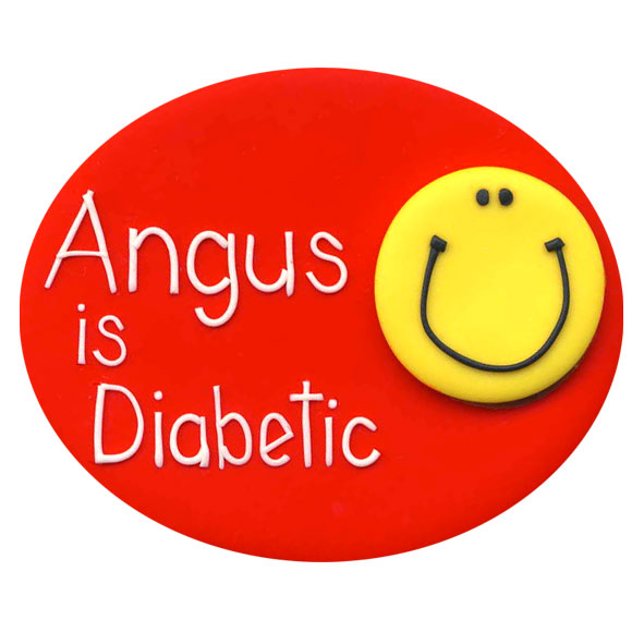 Diabetes Smiley Face - Allergy Alert Badge